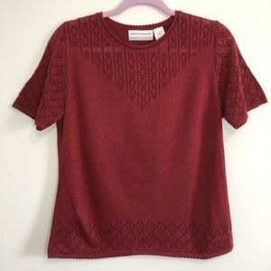 Alfred dunner rose red knit short sleeve sweater